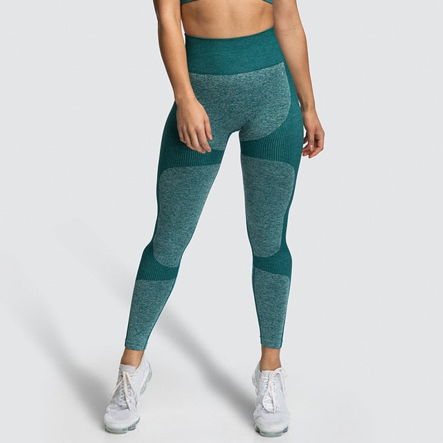 Fitness Push-Up Seamless Patchwork Leggings-Leggings-Trendy-JayBoutique-Green-S-Trendy-JayBoutique