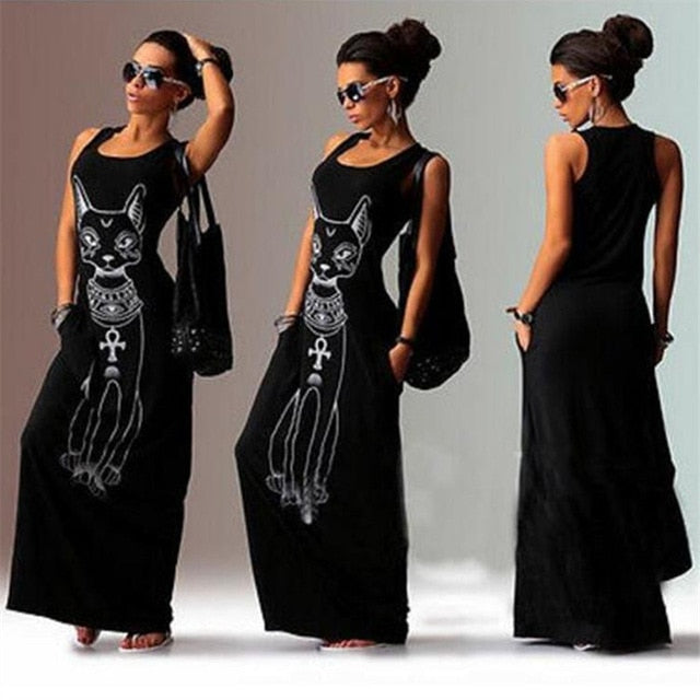 Black Cat-Print Maxi Dress-Dress-Trendy-JayBoutique-Black-S-Trendy-JayBoutique
