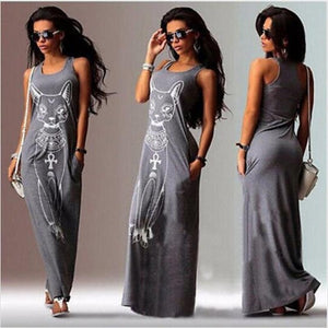 Black Cat-Print Maxi Dress-Dress-Trendy-JayBoutique-Gray-S-Trendy-JayBoutique