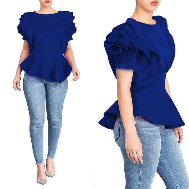 Petal Sleeves Classy Lady Blouse-office blouse-Trendy-JayBoutique-Blue-S-Trendy-JayBoutique