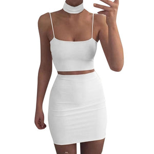 Two-Piece Set Crop Top and Bodycon Skirt-Crop Top and Skirt-Trendy-JayBoutique-White-S-China-Trendy-JayBoutique