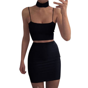 Two-Piece Set Crop Top and Bodycon Skirt-Crop Top and Skirt-Trendy-JayBoutique-Black-S-China-Trendy-JayBoutique