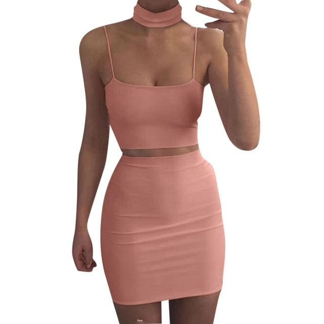 Two-Piece Set Crop Top and Bodycon Skirt-Crop Top and Skirt-Trendy-JayBoutique-Pink-S-China-Trendy-JayBoutique