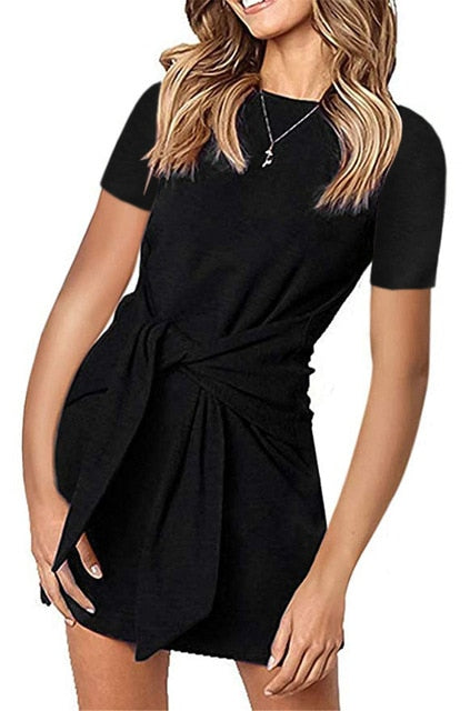Casual Belted Dress-Trendy-JayBoutique-110117black-L-Trendy-JayBoutique