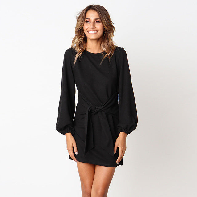 Casual Belted Dress-Trendy-JayBoutique-100002black-S-Trendy-JayBoutique