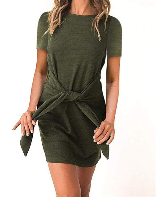 Casual Belted Dress-Trendy-JayBoutique-110117green-L-Trendy-JayBoutique