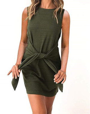 Casual Belted Dress-Trendy-JayBoutique-101175green-L-Trendy-JayBoutique