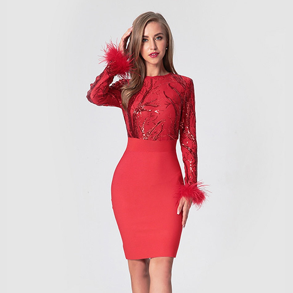Red Sequined Dress-Dress-Trendy-JayBoutique-Red-L-Trendy-JayBoutique