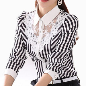 'Lily' Formal Stripped Blouse-lace blouse-Trendy-JayBoutique-XXL-China-Trendy-JayBoutique