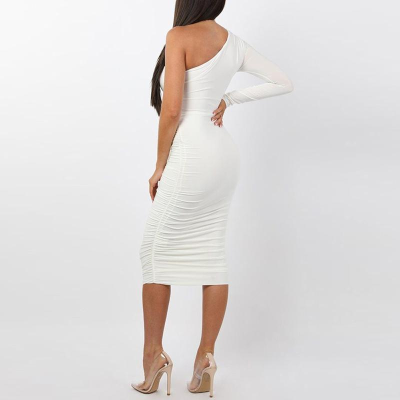 Midi Fashion Sexy White Cocktail Dress-Dress-Trendy-JayBoutique-White-L-Trendy-JayBoutique