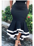 Black & White Patchwork Mermaid Skirt-Skirt-Trendy-JayBoutique-Black-S-Trendy-JayBoutique