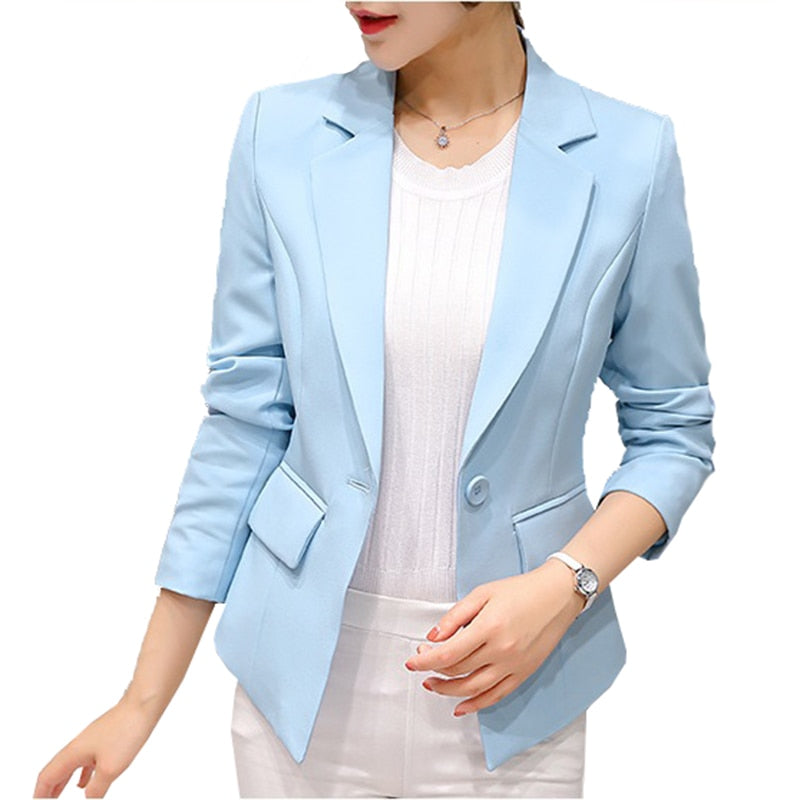 Slim-Office Lady Jacket-Blazer-Trendy-JayBoutique-Royal Blue 297RX-S-Trendy-JayBoutique