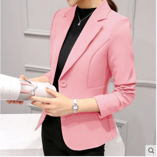 Slim-Office Lady Jacket-Blazer-Trendy-JayBoutique-Pink 297RX-S-Trendy-JayBoutique