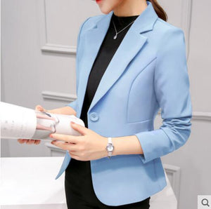 Slim-Office Lady Jacket-Blazer-Trendy-JayBoutique-Light blue 297RX-S-Trendy-JayBoutique