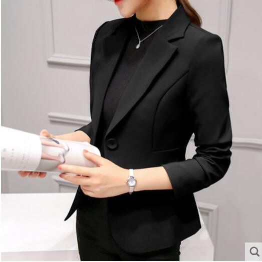 Slim-Office Lady Jacket-Blazer-Trendy-JayBoutique-Black 297RX-S-Trendy-JayBoutique