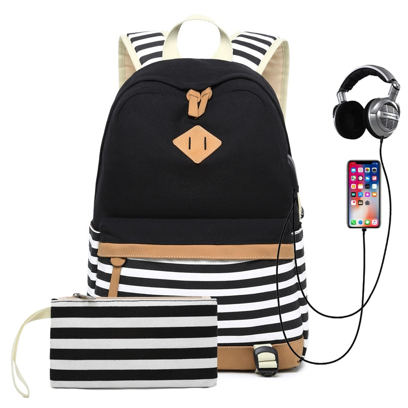 Striped USB with Headphone Rucksack-Backpack-Trendy-JayBoutique-Black-14 inches-Trendy-JayBoutique