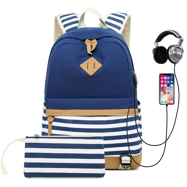 Striped USB with Headphone Rucksack-Backpack-Trendy-JayBoutique-Dark Blue-14 inches-Trendy-JayBoutique
