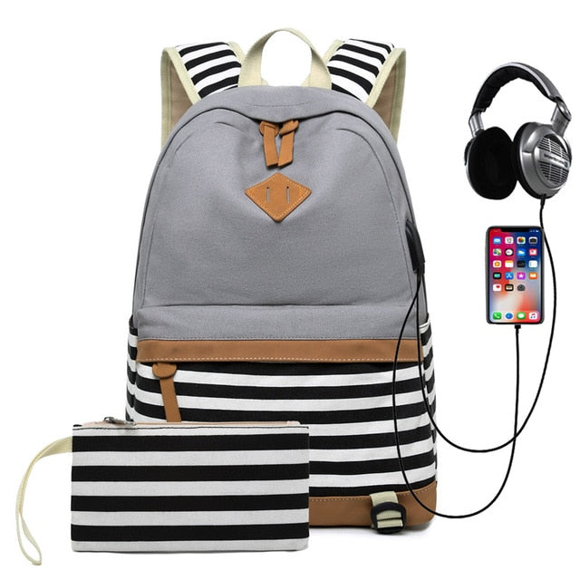 Striped USB with Headphone Rucksack-Backpack-Trendy-JayBoutique-Grey-14 inches-Trendy-JayBoutique