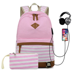 Striped USB with Headphone Rucksack-Backpack-Trendy-JayBoutique-Pink-14 inches-Trendy-JayBoutique