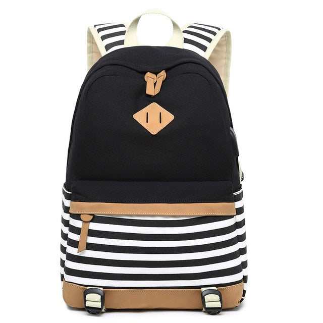 Striped USB with Headphone Rucksack-Backpack-Trendy-JayBoutique-Black-1-14 inches-Trendy-JayBoutique