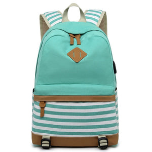 Striped USB with Headphone Rucksack-Backpack-Trendy-JayBoutique-Green-14 inches-Trendy-JayBoutique