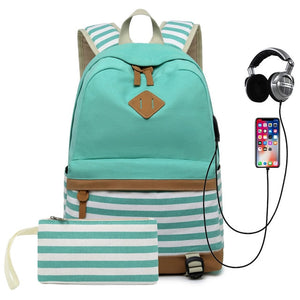 Striped USB with Headphone Rucksack-Backpack-Trendy-JayBoutique-Green-1-14 inches-Trendy-JayBoutique