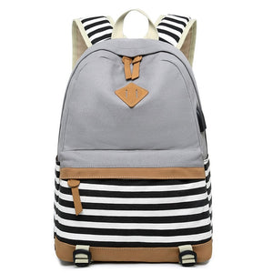 Striped USB with Headphone Rucksack-Backpack-Trendy-JayBoutique-Grey-1-14 inches-Trendy-JayBoutique