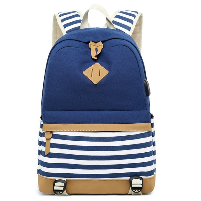 Striped USB with Headphone Rucksack-Backpack-Trendy-JayBoutique-Dark Blue-1-14 inches-Trendy-JayBoutique