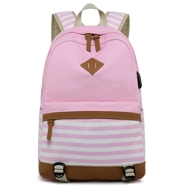 Striped USB with Headphone Rucksack-Backpack-Trendy-JayBoutique-Pink-1-14 inches-Trendy-JayBoutique