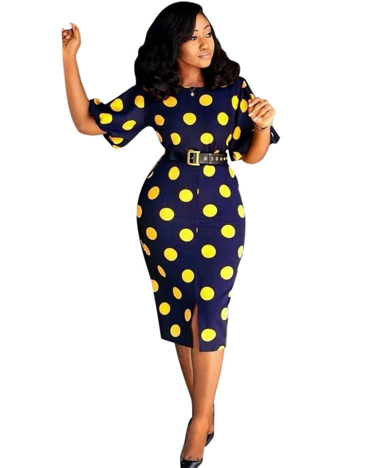 Polka-Dot Bazin Printed Dress-Dress-Trendy-JayBoutique-Black-One Size-Trendy-JayBoutique