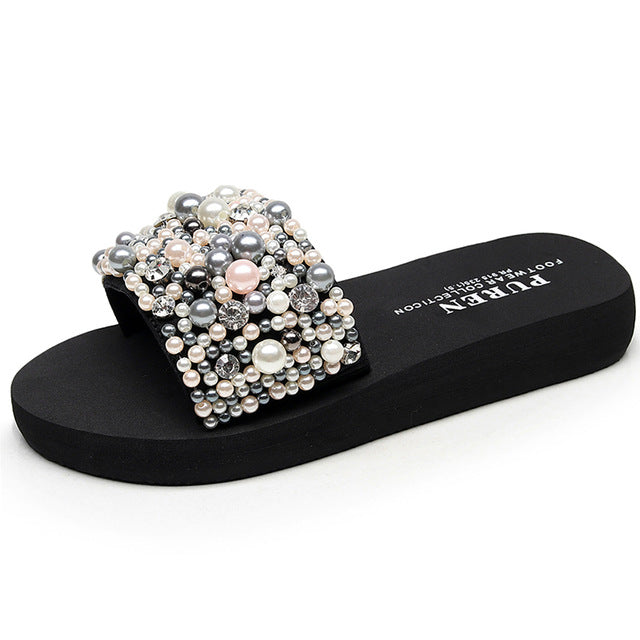 Crystal-Pearls Handmade Slides-Slippers-Trendy-JayBoutique-3CM heels-36-China-Trendy-JayBoutique