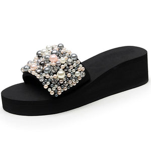Crystal-Pearls Handmade Slides-Slippers-Trendy-JayBoutique-5CM heels-36-China-Trendy-JayBoutique