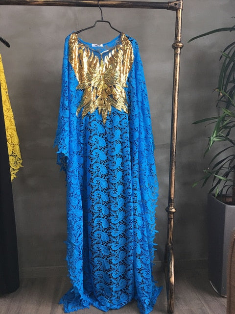 Women's Fashion Lace Beaded Embroidery Dress-maxi loose dress-Trendy-JayBoutique-Blue-One Size-Trendy-JayBoutique
