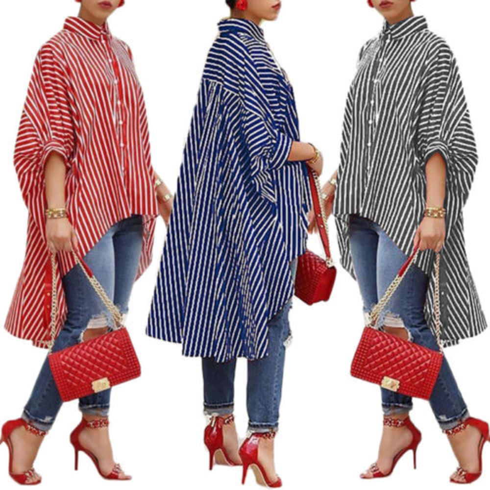 Fashion Women Loose Long Sleeve Striped Shirt-stripped shirt-Trendy-JayBoutique-Blue-S-Trendy-JayBoutique