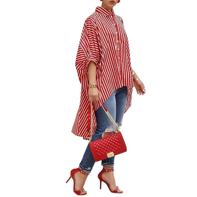 Fashion Women Loose Long Sleeve Striped Shirt-stripped shirt-Trendy-JayBoutique-Red-S-Trendy-JayBoutique