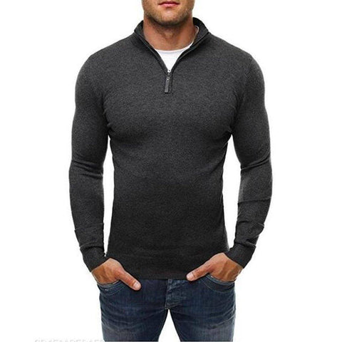 Basic Zipper High Collar Men's Sweater
