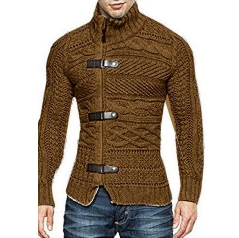 Men's Turtleneck 3 Buckle Long Sleeve Sweater