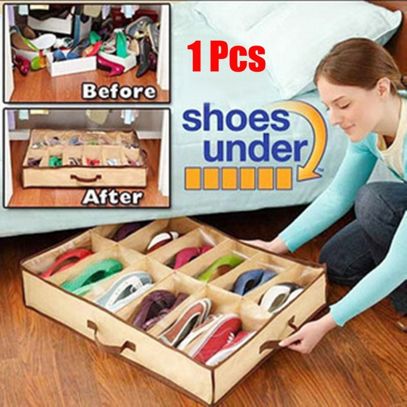 Shoes Under Space-Saving Shoe Organizer (12slots)