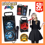 Portable Karaoke Bluetooth Speaker and Radio with Free Microphone