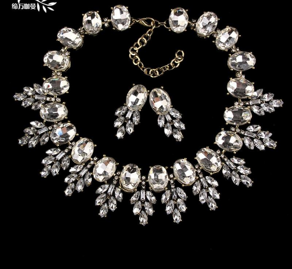 """Anna"" Ice Queen Goddess Necklace and Earring Set - Glitzies Accessories"