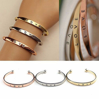 """Jessica"" LOVE Open Cuff Bangles - Glitzies Accessories"