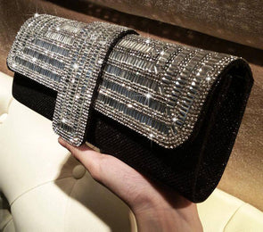 """Gia"" Sparkling Crystal Evening Clutch or Crossbody - Glitzies Accessories"