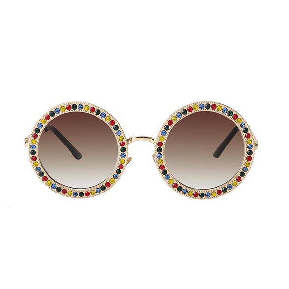 """River"" Round Vintage Rhinestone Sunglasses - Glitzies Accessories"