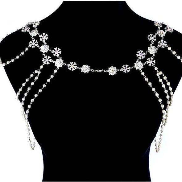 """Laurie"" Shoulder/Clavicle Pearl & Rhinestone Body Jewelry - Glitzies Accessories"