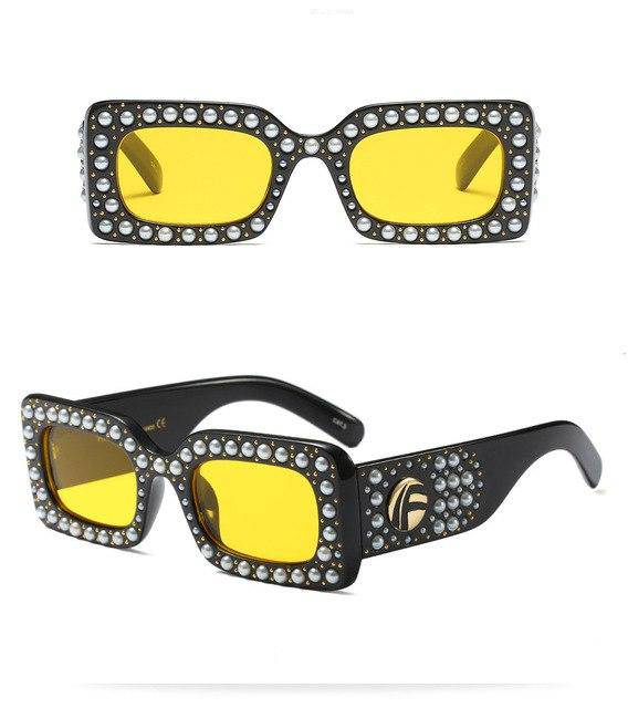 """Aurora"" Pearl Studded Fashion Sunglasses - Glitzies Accessories"