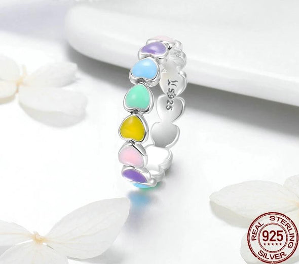 """Love"" 925 Sterling Silver Stackable Rainbow Heart Ring - Glitzies Accessories"