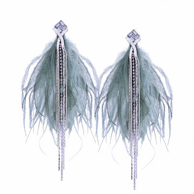 """Vivica"" Bohemian Long Feather Rhinestone Earrings - Glitzies Accessories"