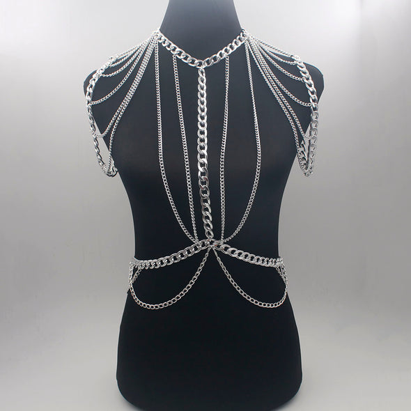 """Calixa"" Bohemian Punk Body Chain - Glitzies Accessories"