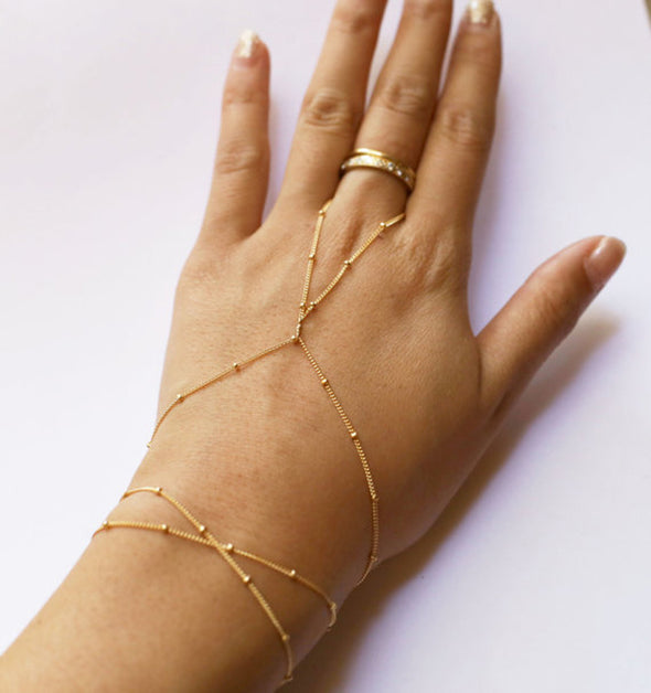 """Shiloh"" Boho Finger Link Bracelet - Glitzies Accessories"