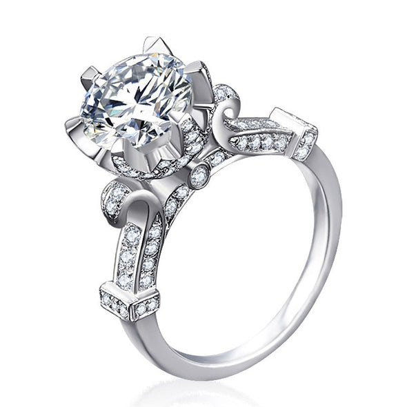 """Dawn"" 925 Sterling Silver 1 Carat Round AAA CZ Engagement Ring - Glitzies Accessories"
